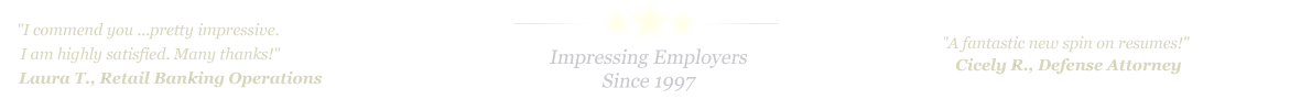 Charlotte Resume Service... IMPRESSING EMPLOYERS SINCE 1997!